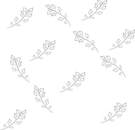 Seamless pattern of birch leaves All items can be edited Ink hand drawn effect