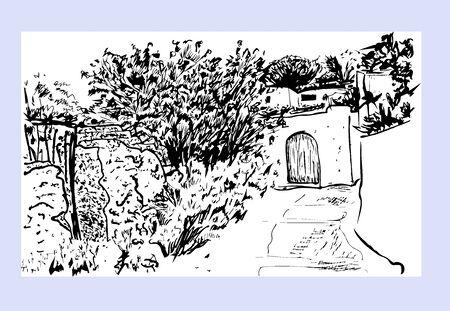 street in a mountain Mediterranean village. Hand drawn vector ink sketch