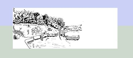 Marina with boats and a chapel in the Mediterranean village. Hand drawn ink vector sketch. Banque d'images - 150352688