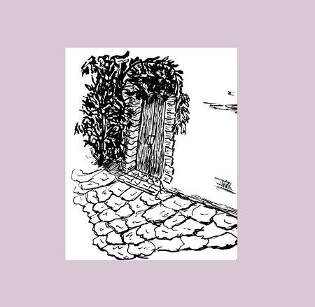 The wall of the house and the door with plants in the Mediterranean village. Hand drawn vector ink sketch