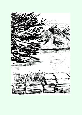 Lake mountain, forest. Hand drawn ink sketch