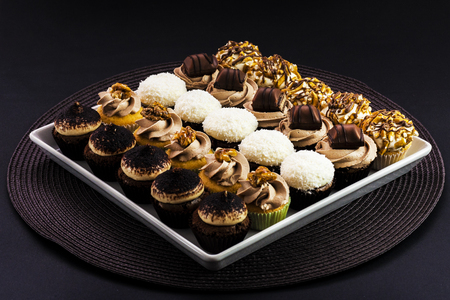 Cupcakes mix on a square plate