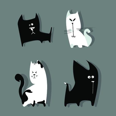funny cats: Illustration of funny cats. Illustration