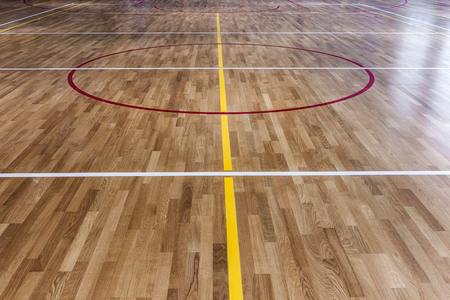 hardwood flooring: basketball floor Stock Photo