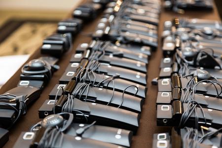 Headphones for simultaneous translation Archivio Fotografico