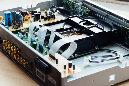optical disk: internal structure of the compat disc player Stock Photo