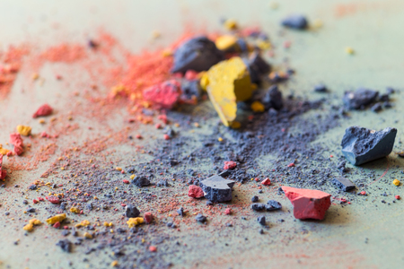 Crushed colored chalk