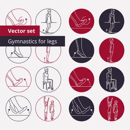 fisioterapia: Conjunto de iconos del vector esquema de gimnasia en c�rculos. Vectores