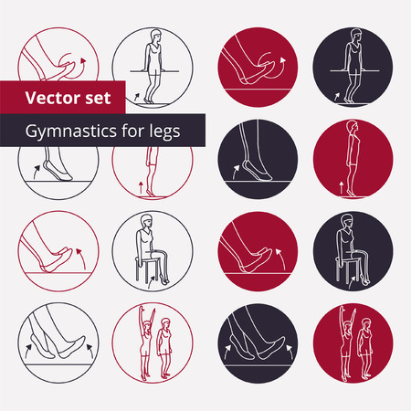 physiotherapy: Set of vector outline icons for gymnastics in circles.