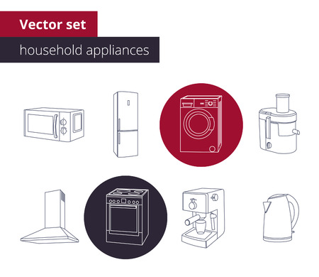 juice extractor: Outline Icon set of home appliances