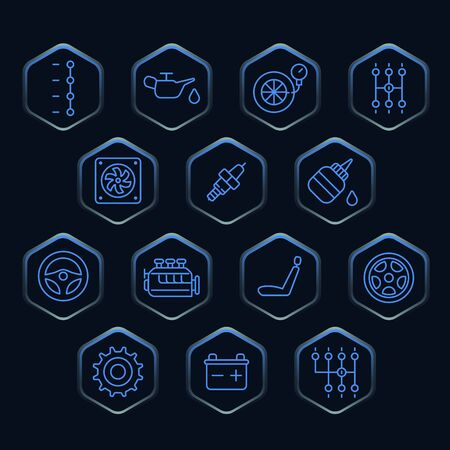 car part: Blue outline icons in the shape of a hexagon Illustration