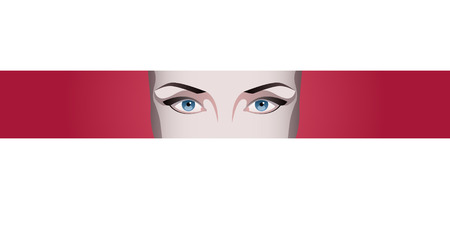 opened eye: Blue Female eyes on red background. Vector illustration for health glamour design. Illustration