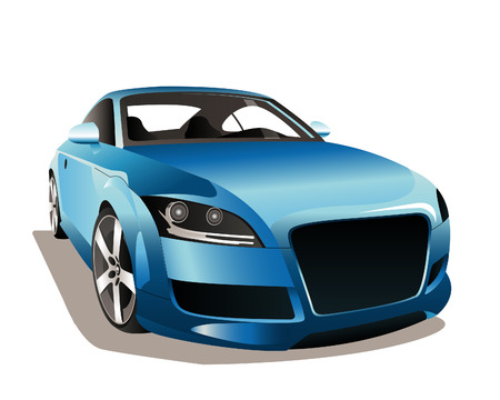 The image of a sports blue car on a white background. Çizim