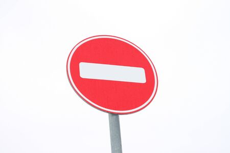 Road sign on white background. Highway transportation. Road safety concept. Street sign. Travel background.