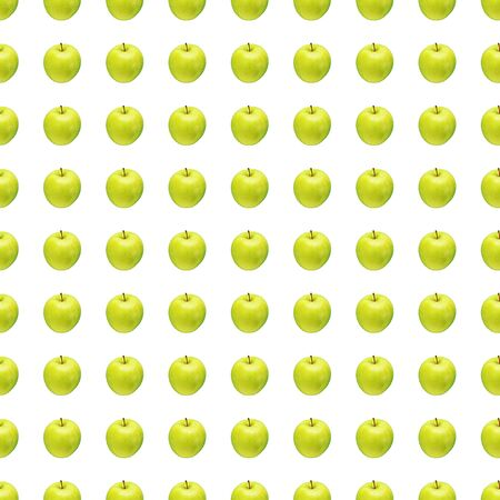 Pattern of green apples on a white background. Isolated fruits. Image for fabric, wallpaper and wrapping paper.
