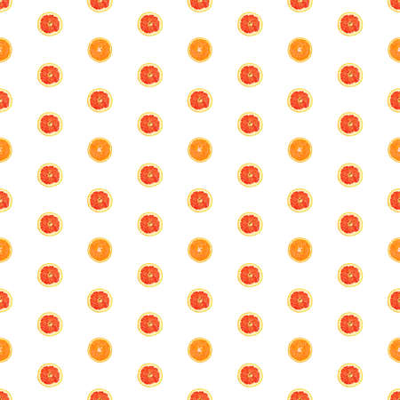 Seamless infinity pattern of isolated slices of grapefruit and orange.