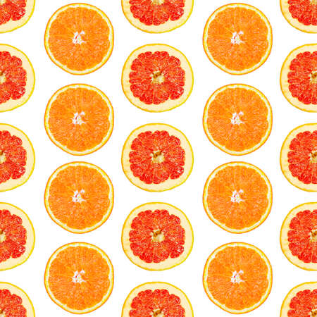 Seamless infinity pattern of isolated slices of grapefruit and orange. Stock illustartion for web and print, wallpaper, background, design and packaging, wrapping and scrapbooking paper