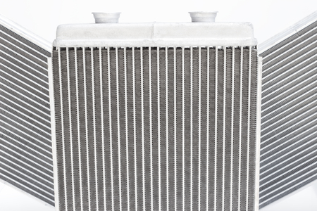 engine compartment: Various automobile radiators for engine cooling systems for air conditioning, for heating the passenger compartment, for cooling the oil in an automatic transmission Stock Photo