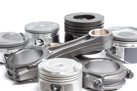 aluminum rod: pistons and connecting rods, main parts for an internal combustion engine Stock Photo