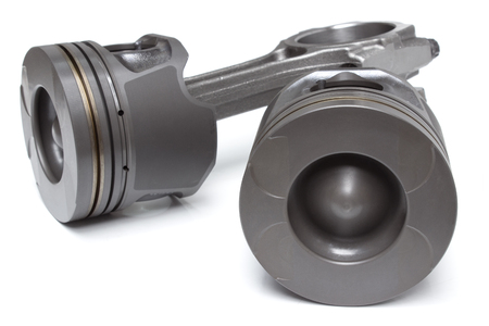 chamber of the engine: pistons and connecting rods, main parts for an internal combustion engine Stock Photo
