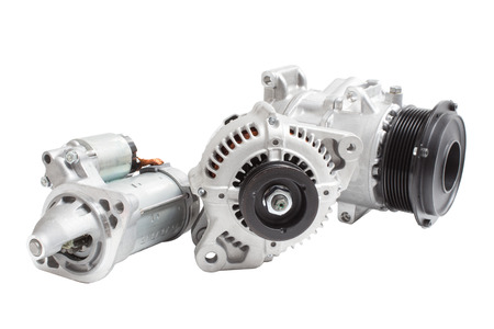 alternator: Generator, air conditioning compressor and the starter on a white background