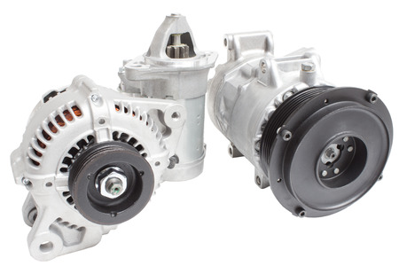 Generator, air conditioning compressor and the starter on a white background