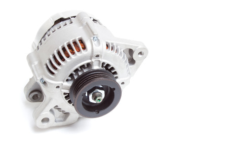 alternateur: alternator  generator of the automobile engine on a white background