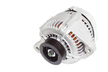 alternator: alternator  generator of the automobile engine on a white background