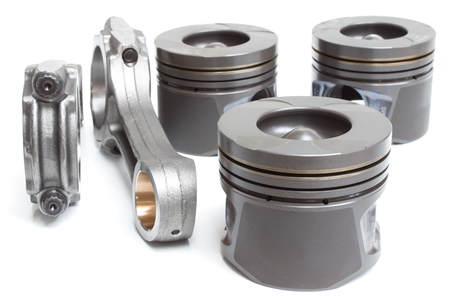 connecting rod: pistons and connecting rods, main parts for an internal combustion engine Stock Photo