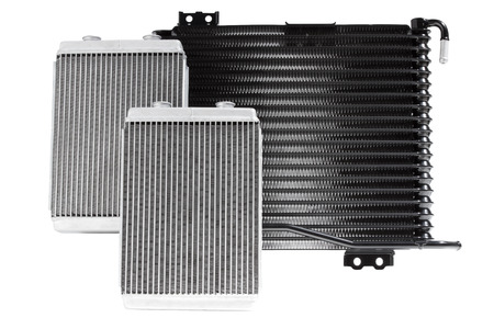 Various automobile radiators for engine cooling systems for air conditioning, for heating the passenger compartment, for cooling the oil in an automatic transmission Stock Photo