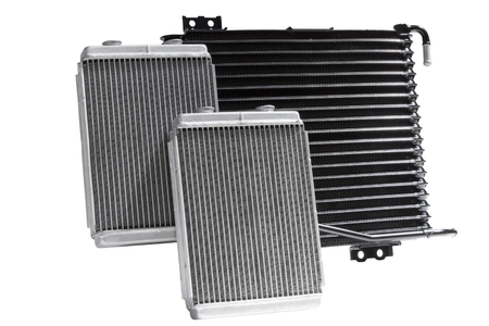 Various automobile radiators for engine cooling systems for air conditioning, for heating the passenger compartment, for cooling the oil in an automatic transmission 스톡 콘텐츠