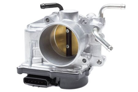 throttle valve with electronic control air supply to the engine on a white background Banco de Imagens