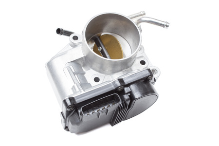 throttle valve with electronic control air supply to the engine on a white background Stock Photo