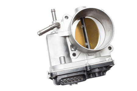 throttle valve with electronic control air supply to the engine on a white background Imagens