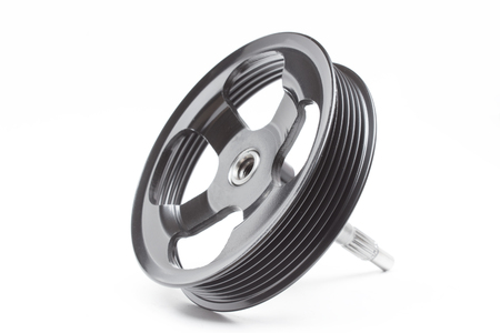 pulley: Black pulley car engine on a white background Stock Photo