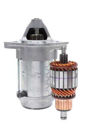 Motor starter, rotor windings and brushes starter on a white background