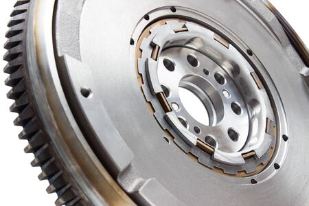 flywheel: new damping flywheels for automotive diesel engines on a white background. car parts Stock Photo