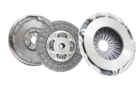 damping: Set to replace the automobile clutch (composed of damping flywheel, drive and basket) on a white background