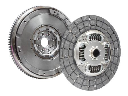 flywheel: Set to replace the automobile clutch (composed of damping flywheel, drive and basket) on a white background