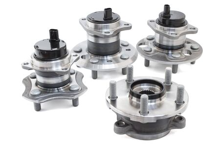 bearings: the composition of the four car wheel bearings with ABS sensor and splines