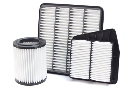 Group of various automotive filters. Air filter, oil filter, cabin filter, automatic transmission