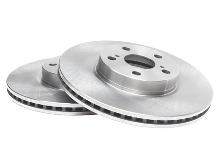 ventilated brake discs on a white background