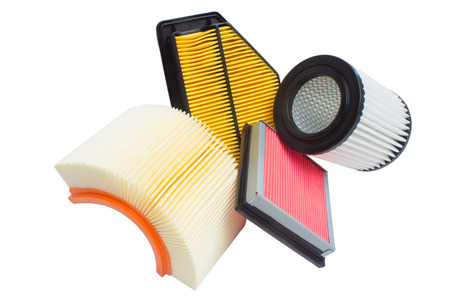 Group of various automotive filters. Air filter, oil filter, cabin filter, automatic transmission Reklamní fotografie - 61385249