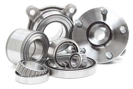 timing belt: various bearings lie on a gray background