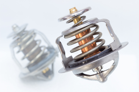 coolant: New car thermostat. Pressure relief valve engine coolant Stock Photo