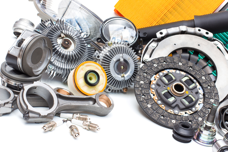 New car parts on a gray background Standard-Bild