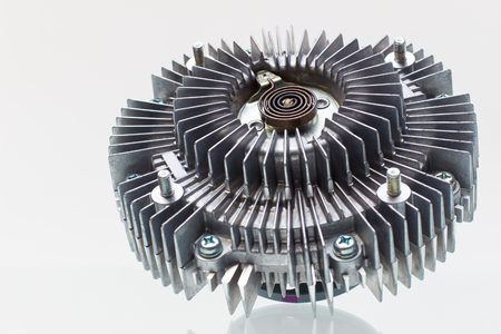 impeller: Engine Cooling Fan Clutch and bracket fan car engine on a white background