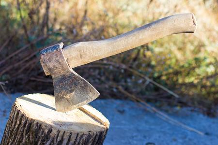 ax and stump Banco de Imagens
