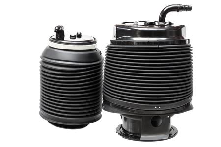 白い背景の空気圧シリンダー、空気懸濁液分離