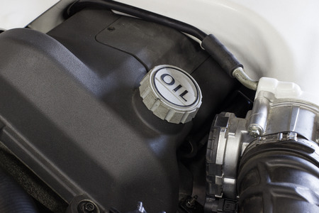 energy work: picture of what the car under the hood. Engine, expansion tanks for oils and fluids Stock Photo